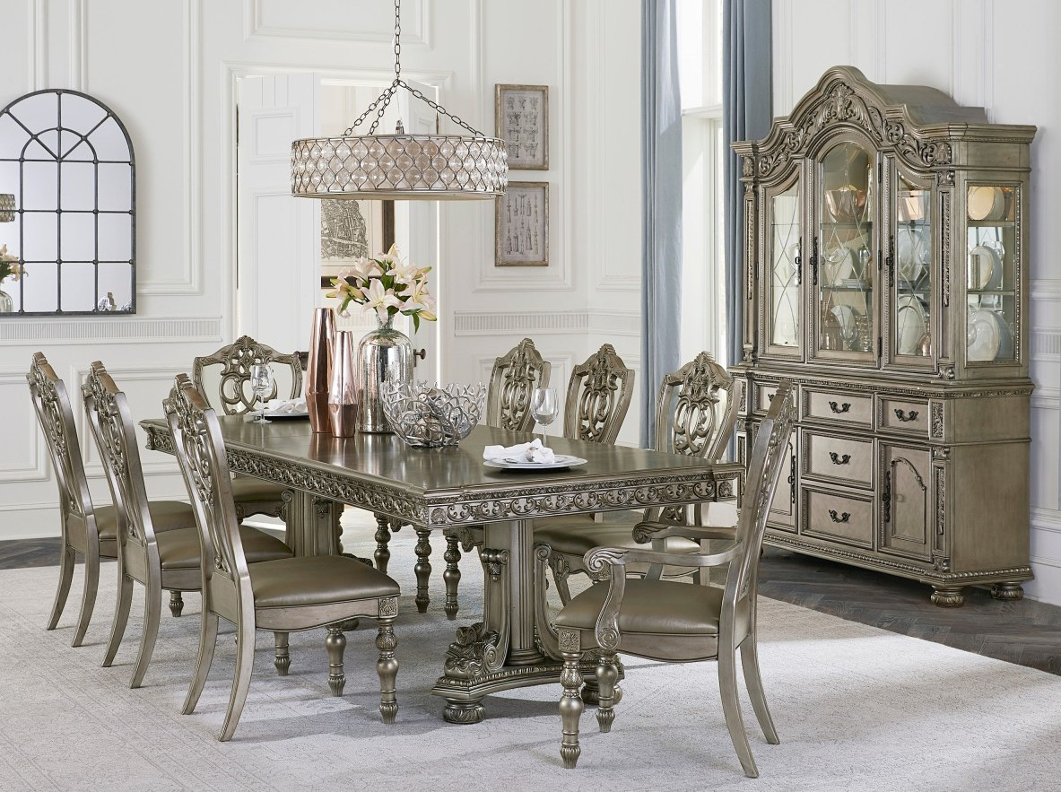 Homelegance 1824PG-112 7 pc Astoria grand catalonia platinum finish wood double pedestal dining table set