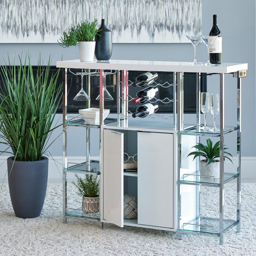 182757 Williston forge ignacio home bar unit white finish wood and chrome bar unit