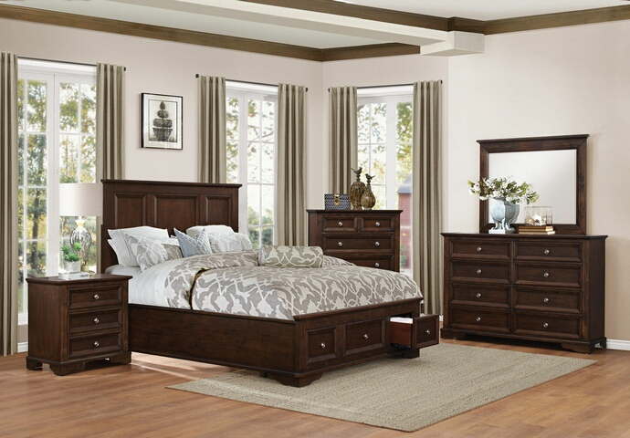 HE-1844DC-5PC 5 pc eunice collection espresso finish wood low profile storage footboard bedroom set