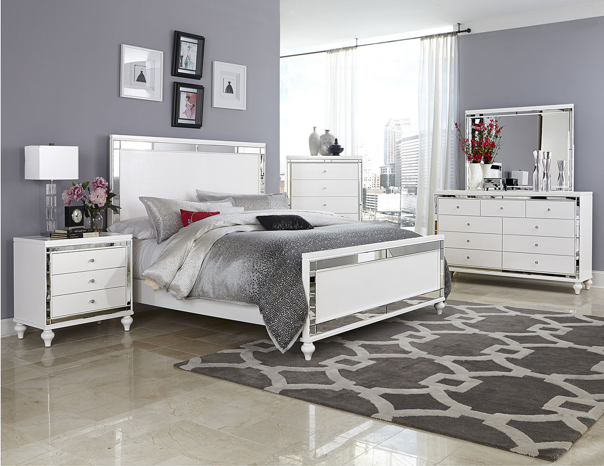 HE-1845-5PC 5 pc alonza collection brilliant white embossed alligator finish wood bedroom set