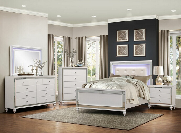HE-1845LED-5PC 5 pc Alonza II collection brilliant white embossed alligator finish wood bedroom set with LED trim