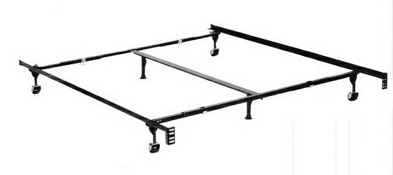 1870BL Queen / Cal king / Eastern king size classic clamp style bed frame with rug rollers with headboard attachment