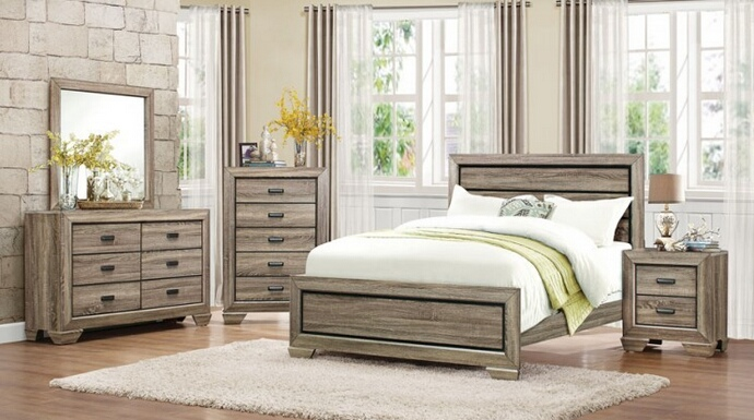 HE-1904-5PC 5 pc Beechnut collection light elm finish wood paneled headboard bedroom set