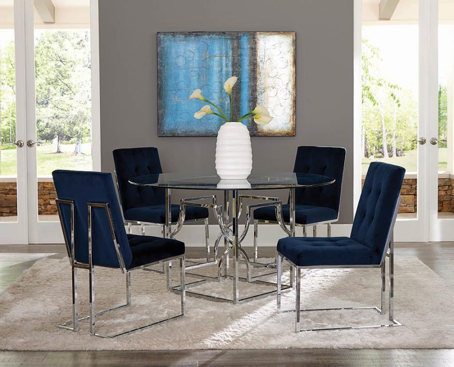 "192561 5 pc Pangea home edward mischa 54"" round clear glass top chrome metal base dining table set"