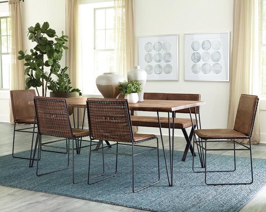 190911B 6 pc Sherman natural acacia finish wood natural edge dining table set