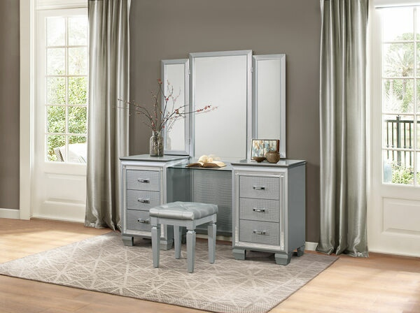 HE-1916-14-15 3 pc Allura collection silver with faux alligator finish wood bedroom make up vanity set