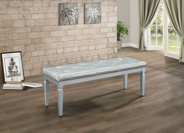 HE-1916-FBH Allura collection silver finish wood tufted top bedroom bench