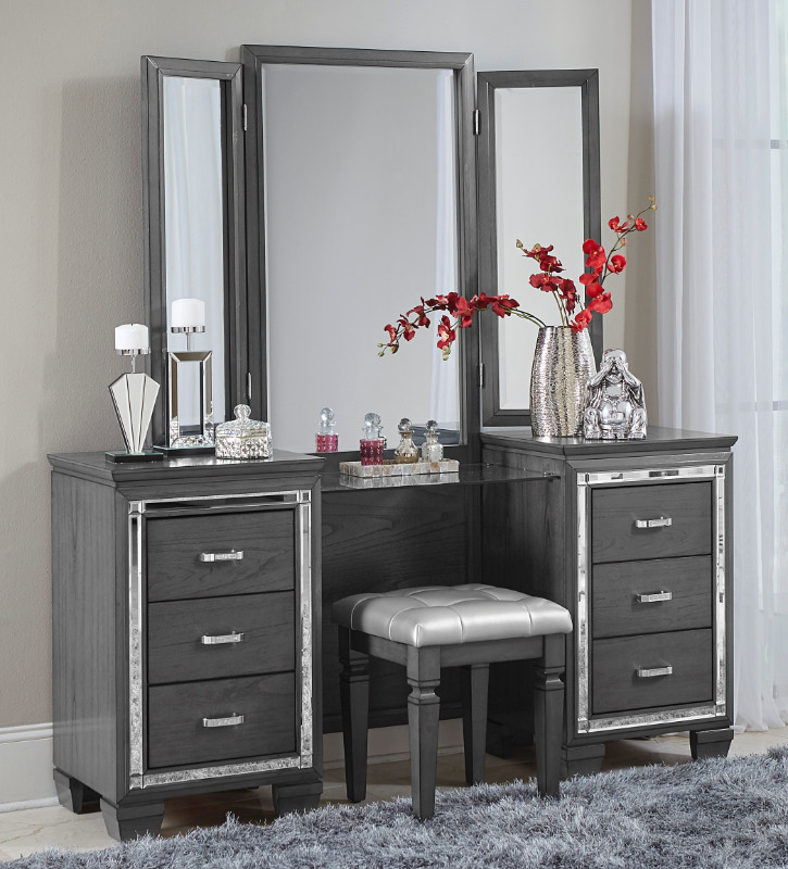 Home Elegance 1916GY-14-15 3 pc Allura gray finish wood bedroom make up vanity set