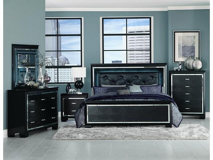 HE-1916BK-5PC 5 pc allura collection black embossed alligator finish wood bedroom set with led trim