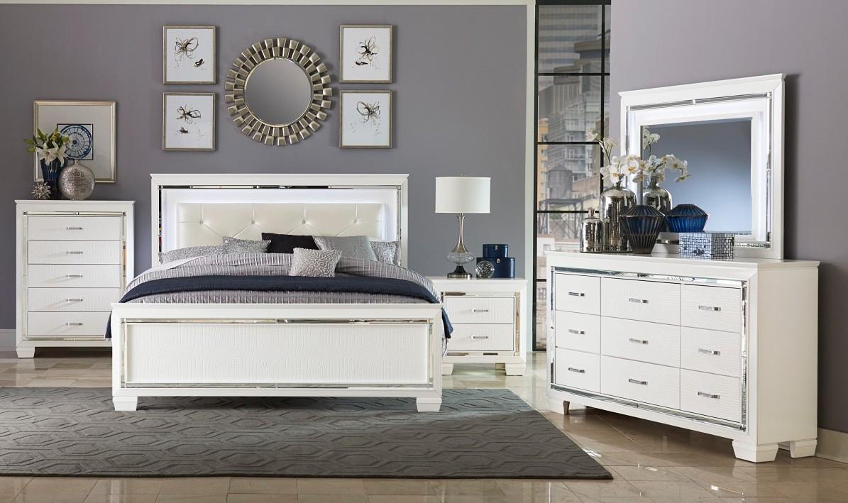 Homelegance 1916W-4PC 4 pc allura white embossed alligator finish wood bedroom set with led trim