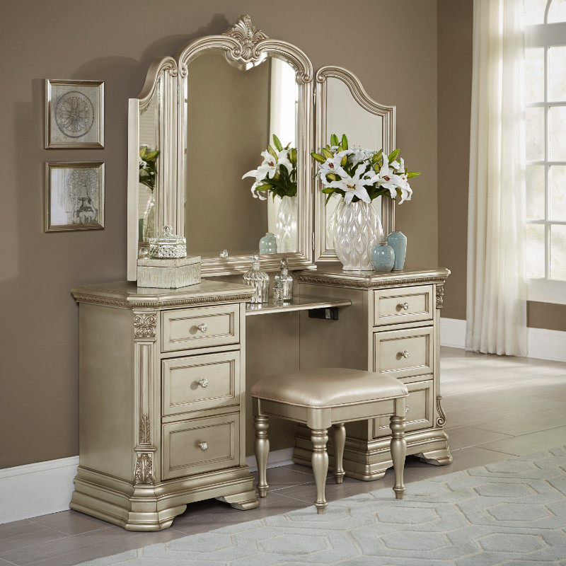 Home Elegance HE-1919NC-14-15 3 pc antoinetta collection antique white finish wood bedroom make up vanity and stool set