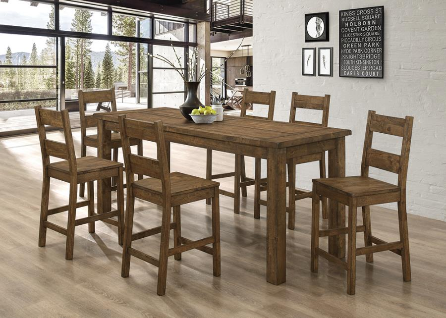 192028 7 pc Wildon home mistana aster golden brown finish wood counter height dining table set