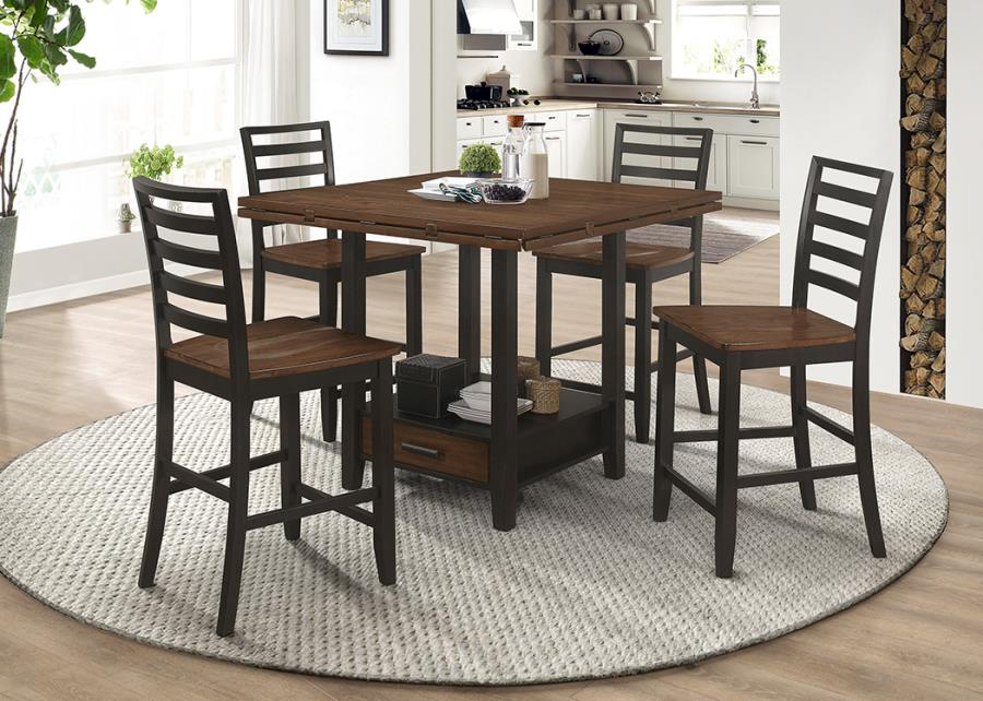 192728 5 pc Rosecliff heights sarasota espresso finish wood round /square drop leaf counter height dining table set