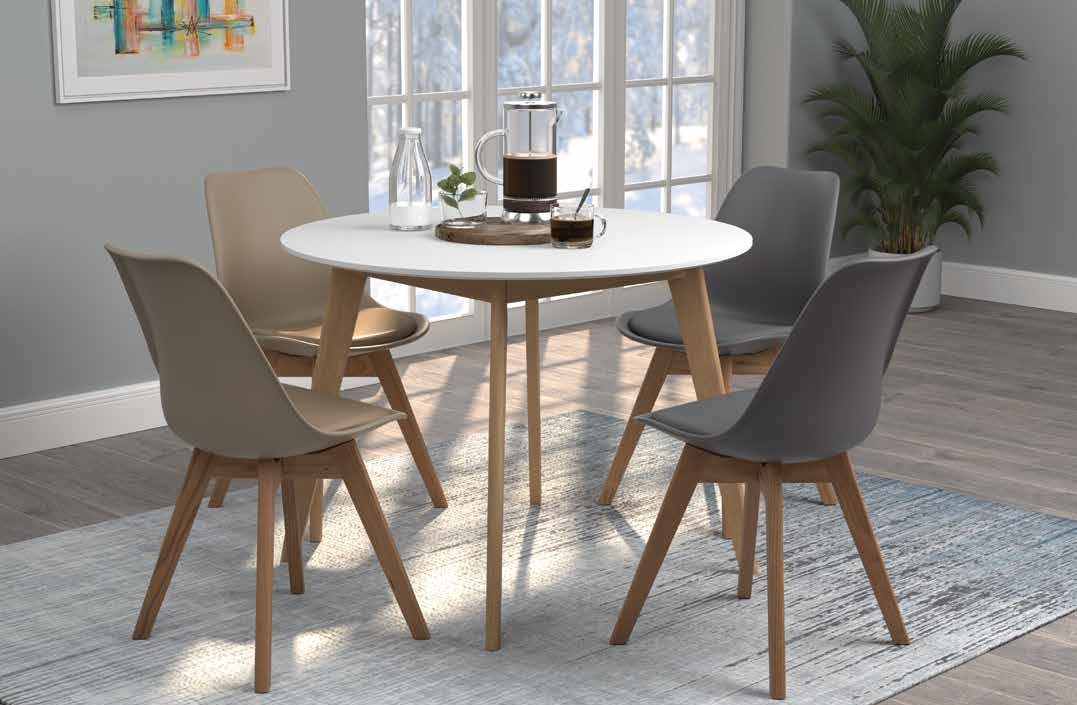 "192790 5 pc Breckenridge natural and white finish wood mid-century modern 40"" round dining table set"