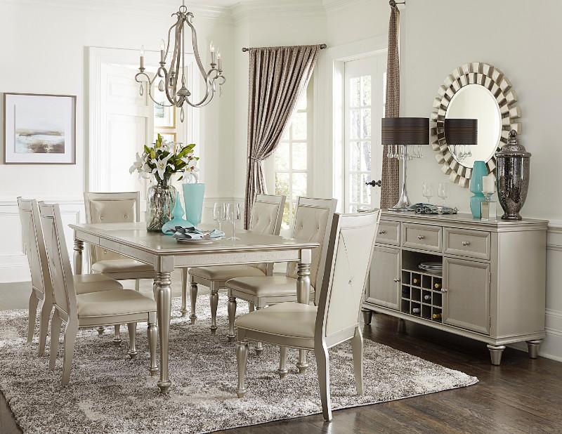 Home Elegance HE-1928-78 7 pc Celandine antique silver finish wood dining table set