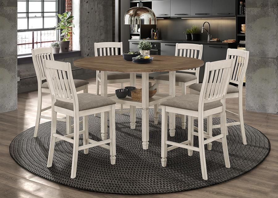 192818 5 pc Rosecliff heights sarasota rustic cream finish wood round /square drop leaf counter height dining table set