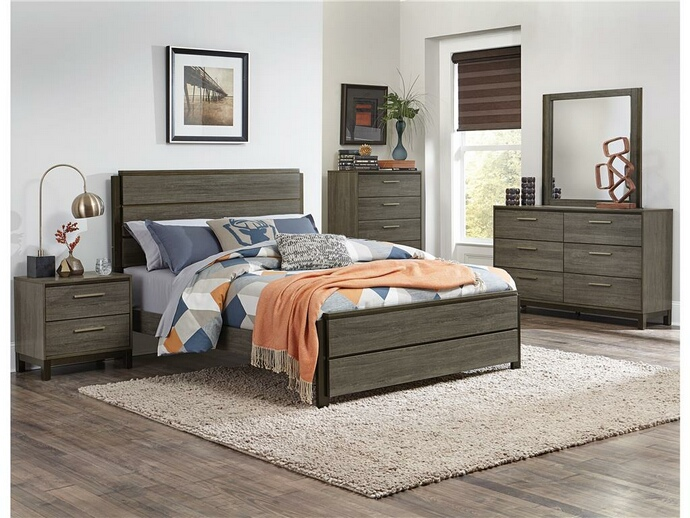 HE-1936-5PC 5 pc Vestavia collection grey finish wood mid century modern style bedroom set