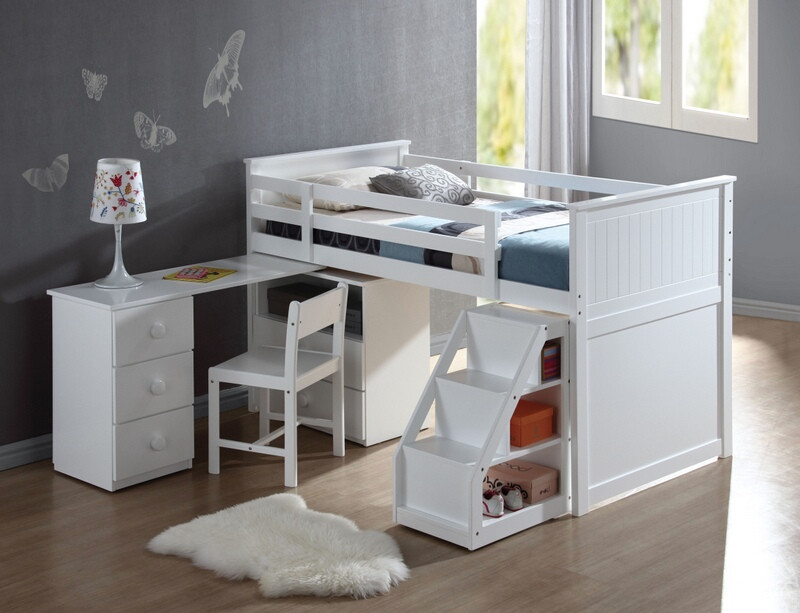 ACM19405-12 Wyatt white finish wood twin size loft bed with pull out desk work station underneath and slide out stairs with storage