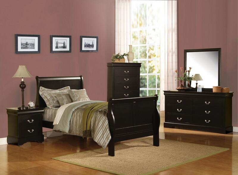 Acme 19510T 4 pc Louis Phillipe black finish wood sleigh twin bed set
