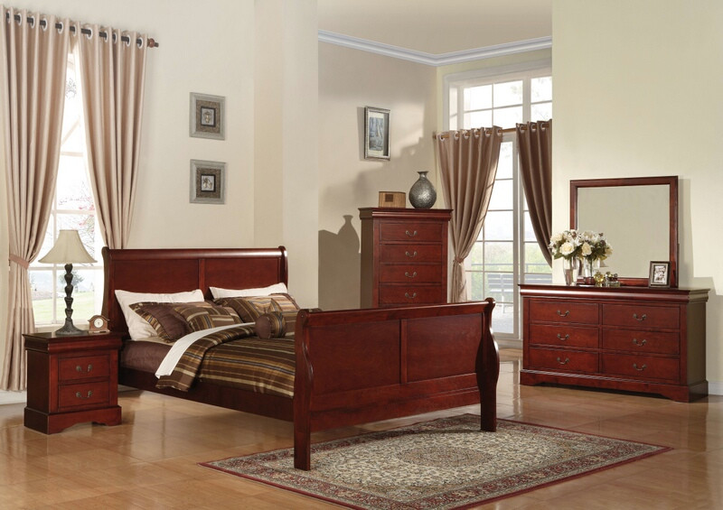 ACM19520Q 5 pc Louis Philippe III Collection cherry finish wood queen bedroom set with curved ends sleigh bed headboard and panel footboard