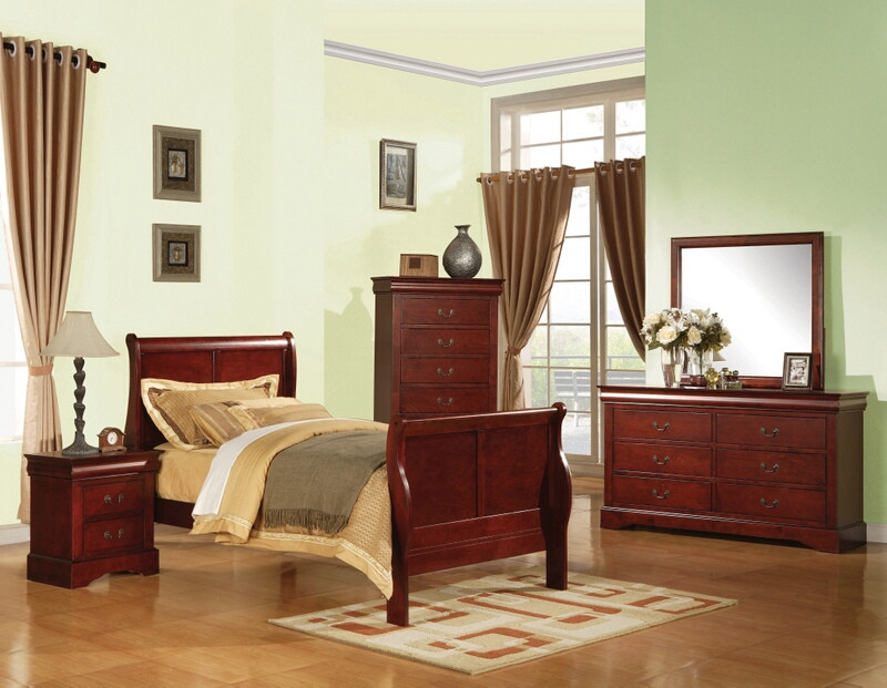 Acme 19530T 4 pc Louis Phillipe cherry finish wood sleigh twin bed set
