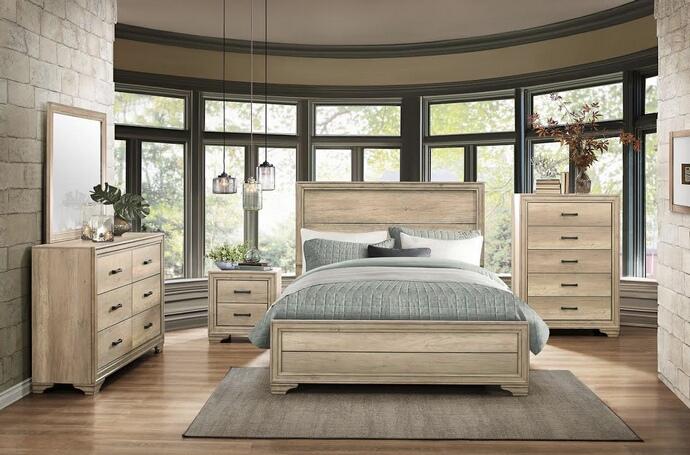 Homelegance 1955-5PC 5 pc Lonan sun bleached finish wood paneled headboard  bedroom set