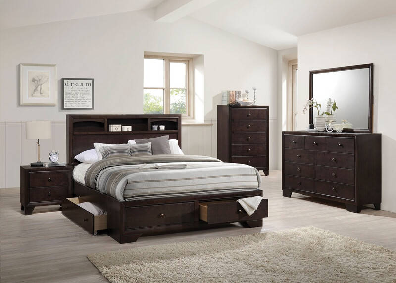 Acme 19560Q 5 pc madison ii espresso finish wood storage headboard with under bed drawers queen bedroom set