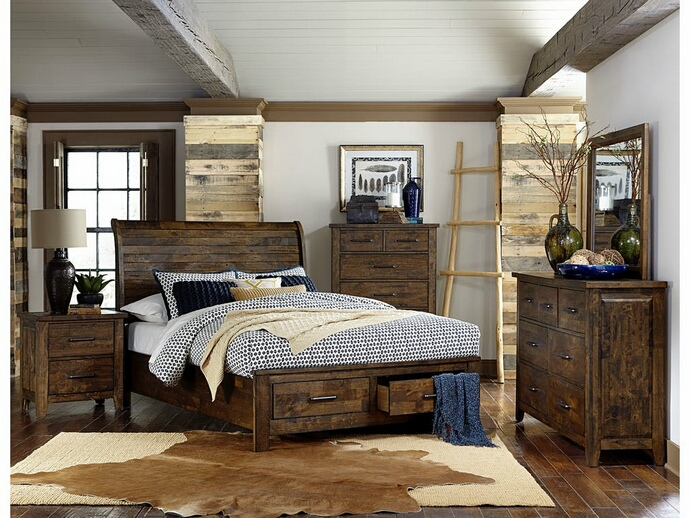 HE-1957-5PC 5 pc Jerrick collection burnished natural finish wood paneled headboard bedroom set