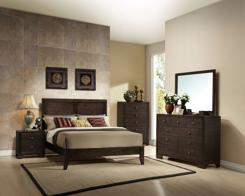 ACM19570Q 5 pc Madison Collection espresso finish wood queen platform bed set with panel headboard and tapered legs
