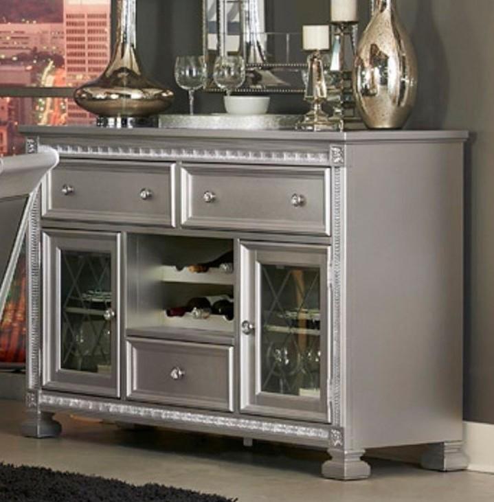 Homelegance 1958-40 Bevelle antique silver finish wood side board server console