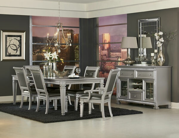 HE-1958-96 7 pc Bevelle collection antique silver finish wood dining table set with carved accents