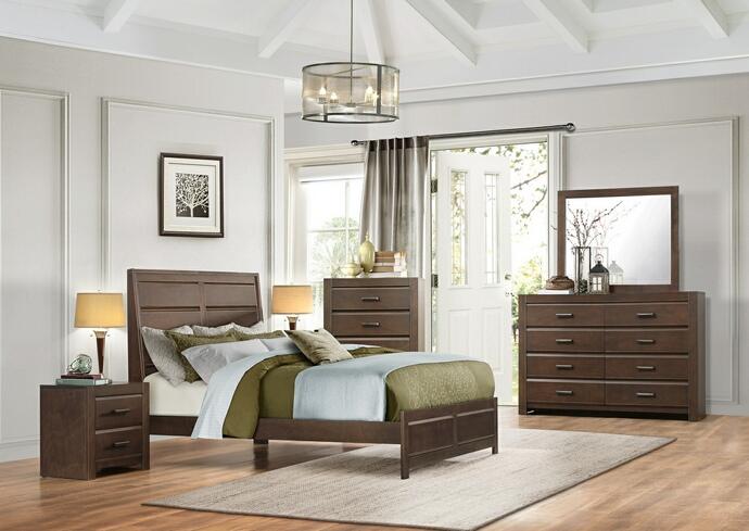 HE-1961-5PC 5 pc Erwan collection espresso finish wood paneled bedroom set