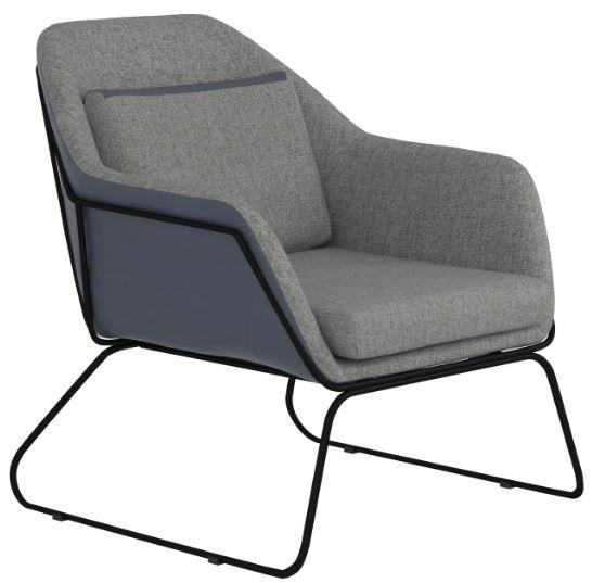903980 Ivy bronx comanche blue leatherette grey fabric inside retro style accent chair