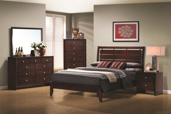 CST201971Q 5 pc serenity rich merlot wood finish queen headboard bed with cut-out design bedroom set