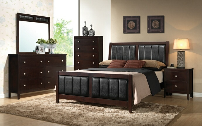 CST202091Q 5 pc carlton collection transitional style espresso finish wood queen bedroom set with padded headboard