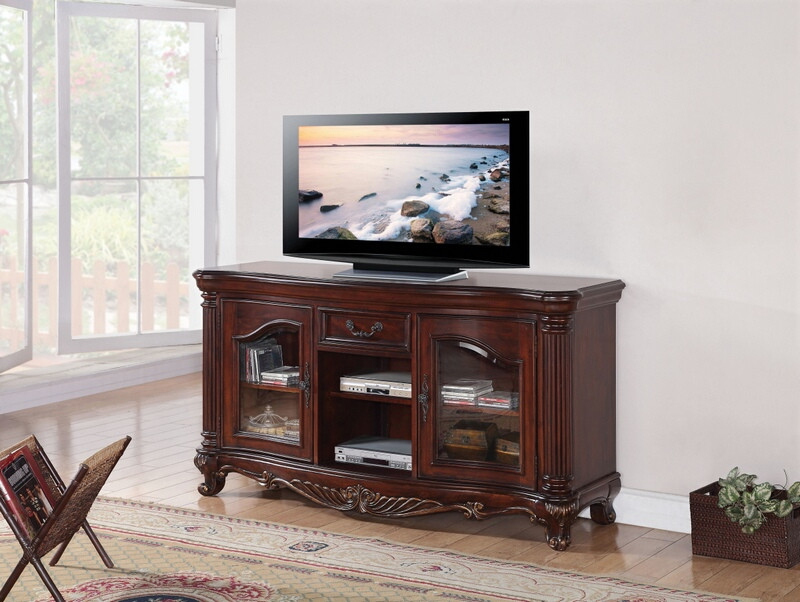 ACM20278 Remington collection brown cherry finish wood TV stand with ornate scrolled designs and glass front cabinet doors