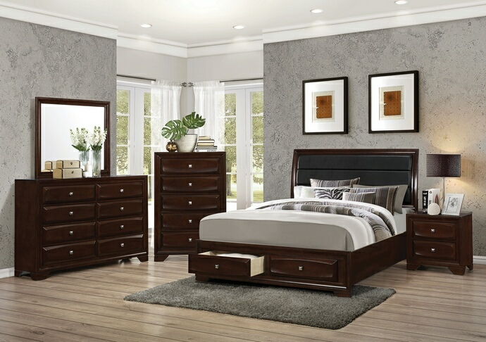 CST203481Q 5 pc Jaxson collection transitional style espresso finish wood queen bedroom set with upholstered headboard