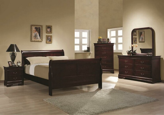 203971Q 5 PC  Louis Philippe Rich Cherry Wood Finish Queen Sleigh Panel Bedroom Set