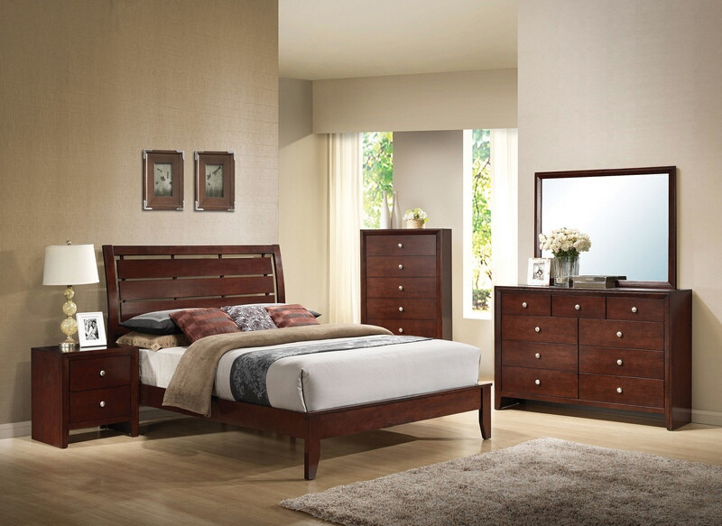 ACM20400Q 5 pc Ilana Collection brown cherry finish wood queen platform bed set with panel headboard and tapered legs