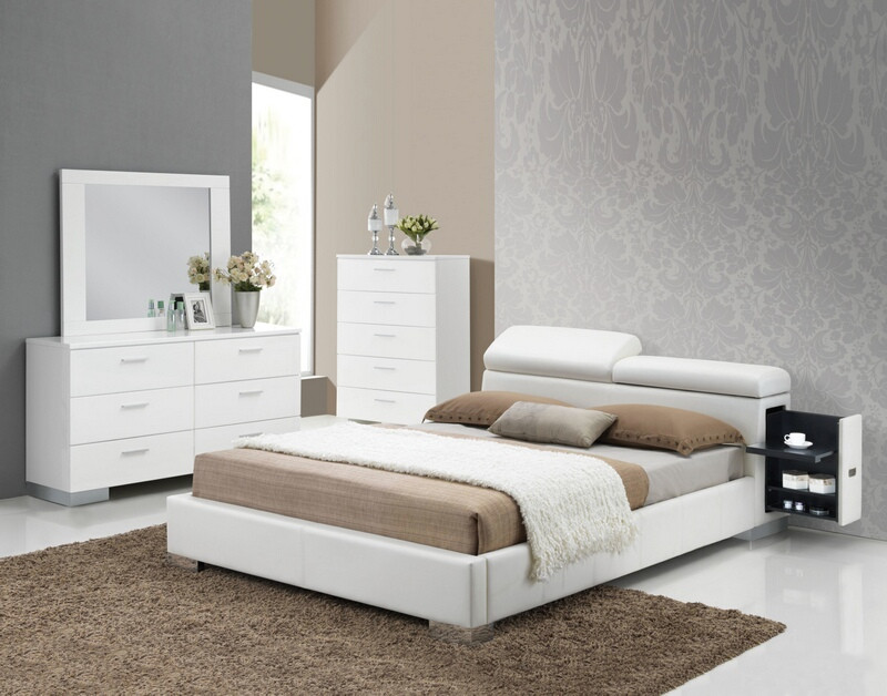 ACM20420Q4pc 4 pc Manjot collection modern style queen white faux leather padded bedroom set with storage and adjustable headrest