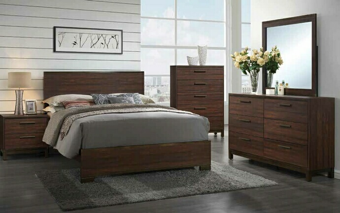 CST204351Q 5 pc edmonton collection tobacco finish wood and rustic wood look queen bed set