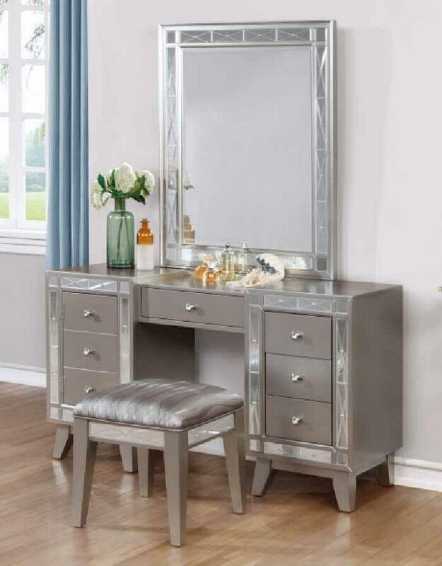 CST204927-28 3 pc Lighton collection metallic mercury finish wood and mirror detail bedroom make up vanity