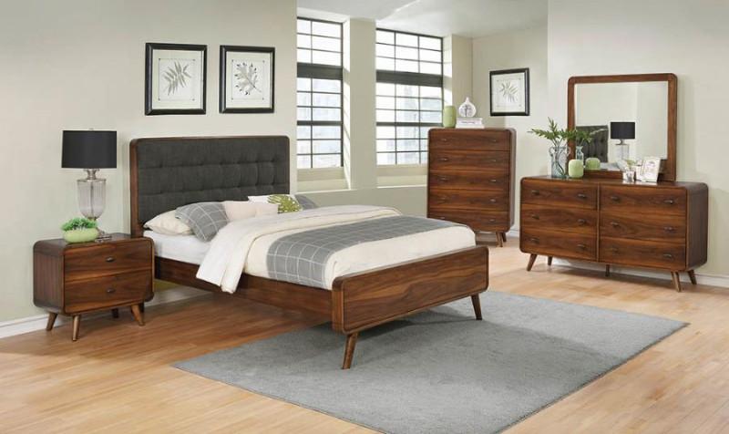 205131Q 5 pc Robyn dark walnut finish wood queen tufted bed set