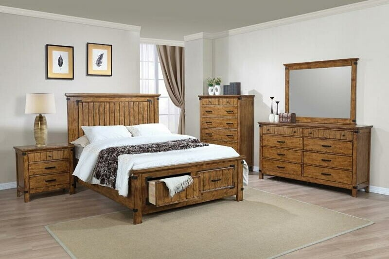 CST205260Q 5 pc Brendan collection rustic honey finish wood rustic style queen bed set