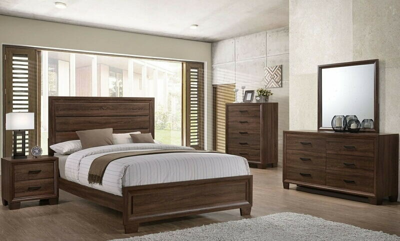 CST205321Q 5 pc Branden collection medium warm brown finish wood queen bedroom set