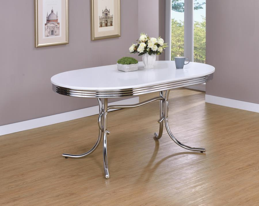 2065 Orren ellis yother varick gallery amado oval shaped retro chrome finish dining table with chrome edge.