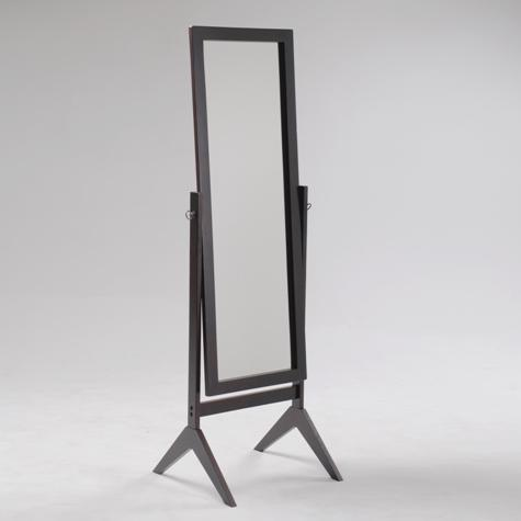 2066 Espresso finish wood rectangular cheval floor free standing mirror