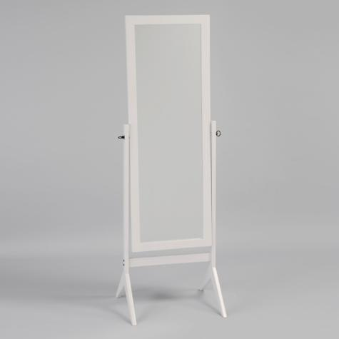 CM-2066-WH White finish wood rectangular cheval floor free standing mirror