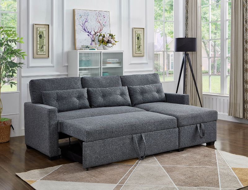 Asia Direct 2089 2 pc elaine grey linen like fabric sectional sofa set sleep area and storage chaise