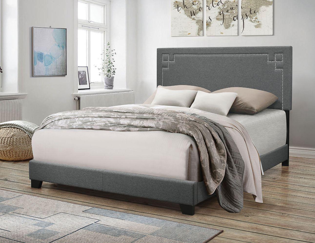 Acme 20910Q Latitude run Ishiko II gray fabric upholstered queen bed frame set